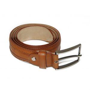 V-Light Brown Genuine Leather Belt